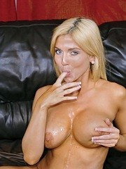 Big titted blonde Christie Stevens gets a mouthful of jizz after a blowjob