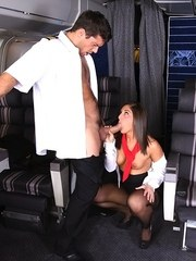 Brunette chick Mischa Brooks gives a messy blowjob in uniform