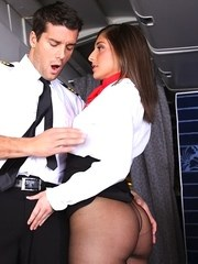 Stewardess Mischa Brooks has her hose ripped open before sex with the pilot
