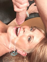 Hot grandmother Lexi McCain seduces a younger man in her lingerie and hose