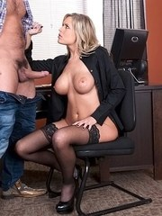 Boss lady Darcy Tyler gives her employee a blowjob for meeting sales goals