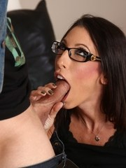 Dark haired chick Dava Fox seduces a guy wearing a short skirt and glasses