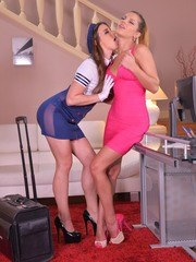 Flight attendants Amirah and Angel Rivas toy twats during a layover
