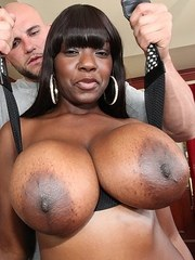 Black chick Chimille Morgan ends up with jizz on her massive tits after sex