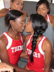 Sexy black girls have group lesbian sex on the team bus