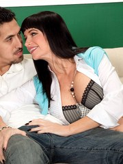 Dark haired mature lady Angie Noir sports a creampie after getting banged