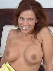 Busty mom Syren Demer sucks off her sons best friend with no shame