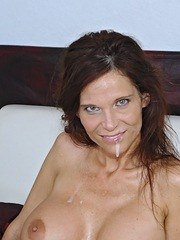 Older brunette MILF Syren Demer sucks off a cock and swallows a load
