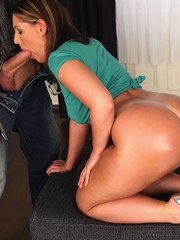 Overweight chick rocks her big butt while sucking a big dick