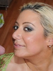 Big titted blonde fatty gets facialized after giving a blowjob