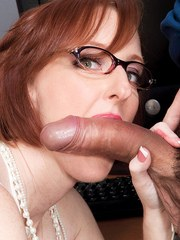 Middle-aged nerd Layla Redd fucks a young man during his job interview