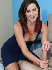 Brunette chick Helena Price gives her guy a non nude handjob