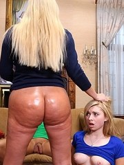 Big boobed blonde chick has lesbian sex with her stepdaughter in a threesome