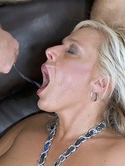 Blonde female Carey Riley gets herself a mouthful of cum after seducing a man