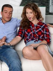 Naughty teen girl Bunny Baby pleases her stepdad with her pierced tongue