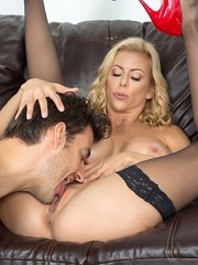 Mature pornstar Alexis Fawx gets banged by a young stud in black nylons
