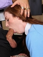 Schoolgirl Kali Kenzington sucks off her stepfather in her school uniform