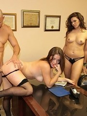 Secretary makes easy money by having a 3some with her boss and his wife