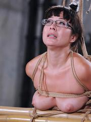 Asian sex slave Nyssa undergoes tit torture and forced masturbation in glasses