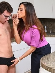Latina cougar Ariella Ferrera takes a nerdy boys virginity in the kitchen