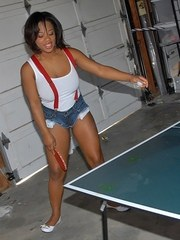 Black teen Yasmine Loven bares her big natural tits after game of table tennis