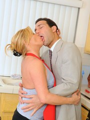 Mature housewife Ginger Lynn fucks her hubby in tan colored stockings