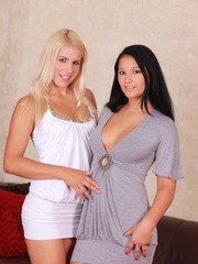 Young girls Brandy Smile and Lana are no strangers to having lesbian sex
