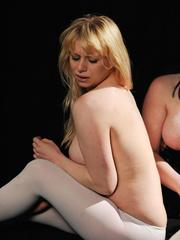 Chubby dykes introduce candles and hot wax into their kinky sex games