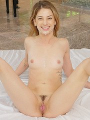 Petite female Kristen Scott seduces her guy by the piano in her lingerie