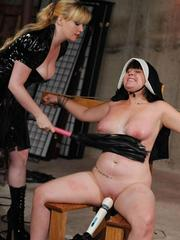 Busty nurse is used  abused by a no nonsense female that brings her to orgasm