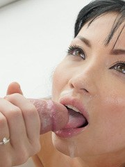 Nude Asian female Rina Ellis takes a twirl at riding a penis