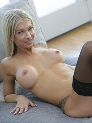 Blonde chick Synthia Fixx gets fucked hard wearing black stockings