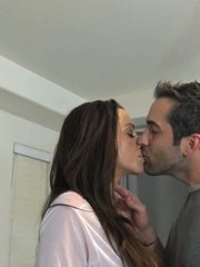 Big boobed Latina female greets her guy with a kiss before a BJ and a fuck