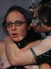 Restrained female sex slave endures electro torture and forced masturbation