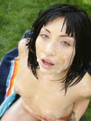 Korean chick Rina Ellis gets her cunt licked before sex on the lawn