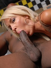 Sexy older lady Erica Lauren seduces and blows a black man