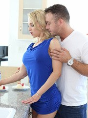 Hot blonde with big tits is coerced and seduced into a hard fuck by her hubby