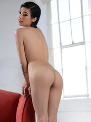 Latina solo model Aubrey Luna removes white lingerie and hose to pose nude