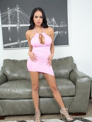 Latina solo model Victoria June releases her huge boobs from her dress