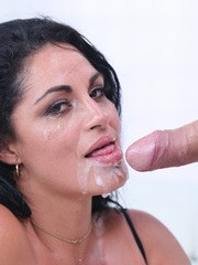 Brunette female Cristal Caraballo gets the sperm out of a dick with oral sex