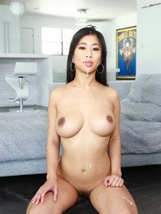 Naked Asian amateur Jade Kush pleasures a cock in her porn premiere
