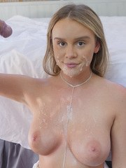Busty blonde female Alexis Adams delivers a ball sac sucking blowjob