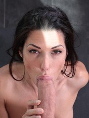 Nude MILF Alexa Tomas sucks the jizz out of a large dick on her knees