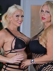 Big boobed blondes Alura Jenson and Karen Fisher break out the sex toys