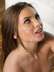 Nude female Summer Brooks sucks the jizz out of a cock in her porn premiere
