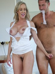 Older woman Brandi Love leads a guy by the dick before blowing him