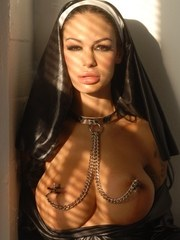 Busty chick Angelina Valentine wears a nuns habit during kinky solo sex