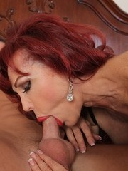 Busty older lady Sexy Vanessa deepthroats her boytoys dick