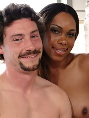 Gorgeous Ebony shemale Sexy Jade giving a lucky guy a prostate exam
