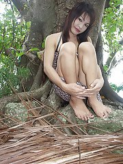 Playful Asian tranny teen flashing her dick in a magical forest